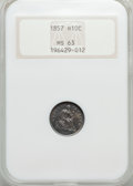 Seated Half Dimes: , 1857 H10C MS63 NGC. NGC Census: (141/379). PCGS Population (130/265). Mintage: 7,280,000. Numismedia Wsl. Price for problem...