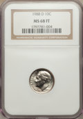 Roosevelt Dimes: , 1988-D 10C MS68 Full Bands NGC. NGC Census: (7/0). PCGS Population (4/0). Mintage: 962,385,472. Numismedia Wsl. Price for p...