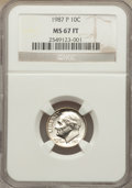 Roosevelt Dimes: , 1987-P 10C MS67 Full Bands NGC. NGC Census: (3/0). PCGS Population (3/0). Mintage: 762,709,504. Numismedia Wsl. Price for p...