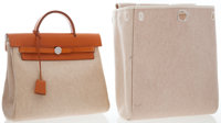Hermes Vache Naturelle Leather & Toile Herbag A Dos Backpack Bag Very Good to Excellent Condition