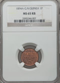 German New Guinea, German New Guinea: Wilhelm II Pfennig 1894-A MS65 Red and BrownNGC,...