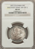 Colombia, Colombia: Republic 50 Centavos 1892 MS64 NGC,...