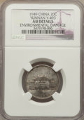 China:Yunnan, China: Yunnan. 20 Cents Year 38 (1949) AU Details (EnvironmentalDamage) NGC,...