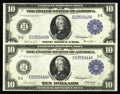 Large Size:Federal Reserve Notes, Fr. 920/Fr. 921 $10 1914 Federal Reserve Notes Changeover Pair Choice New. This newly discovered changeover pair is the only... (Total: 2 notes)