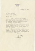 Autographs:Letters, 1940 Ty Cobb Signed Letter. Single typed page apologizes for adelay in response to a Tyrus V. Dahl at Texas A&M. Cobb wri...