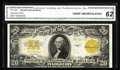 Large Size:Gold Certificates, Fr. 1187 $20 1922 Gold Certificate Star CGA Crisp Uncirculated 62.An unusually bright star note that has the appearance of ...