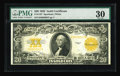 Large Size:Gold Certificates, Fr. 1187 $20 1922 Gold Certificate PMG Very Fine 30. A trace of embossing is viewed through the third-party holder on this $...