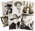 "Movie/TV Memorabilia:Autographs and Signed Items, Assorted Vintage Movie Cowboy-Signed Photos. Set of five b&w 8""x 10"" photos inscribed and signed by Johnny Mack Brown, Jimm...(Total: 1 Item)"