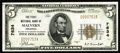 Malvern, AR - $5 1929 Ty. 1 The First NB Ch. # 7634 A very scarce bank, particularly in this state of preservation. Thi...