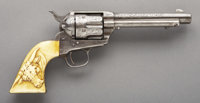 """ENGRAVED COLT SINGLE ACTION REVOLVER WITH """"STEER HEAD"""" IVORY GRIPS - Serial number 88180, circa 1883. 5 &frac1..."""