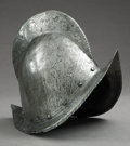 Military & Patriotic:Spanish American War, LATE 16th CENTURY 'COMB MORION' STYLE, SPANISH HELMET DATED 1540 - This type of helmet was historically used by the Conquist... (Total: 2 Item)