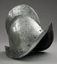 LATE 16th CENTURY 'COMB MORION' STYLE, SPANISH HELMET DATED 1540 - This type of helmet was historically used by the Conq...