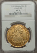 Colombia, Colombia: Charles IV gold 8 Escudos 1791 P-SF AU50 NGC,...