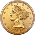 Proof Liberty Half Eagles, 1893 $5 PR61 PCGS. CAC....
