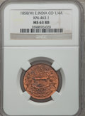 India:British India, India: British India. East India Company 1/4 Anna 1858-(W) MS63 Red and Brown NGC,...
