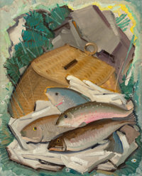 VICTOR HIGGINS (American, 1884-1949) Trout and Creel Oil on canvas laid on panel 19-5/8 x 15-5/8