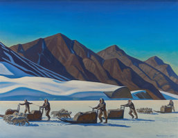 Featured item image of ROCKWELL KENT (American, 1882-1971)  Polar Expedition, 1944  Oil on canvas  34 x 44 inches (86.4 x 111.8 cm)  Signed and... (Total: 2 Items)