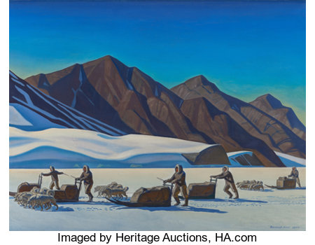 ROCKWELL KENT (American, 1882-1971) Polar Expedition, 1944 Oil on canvas 34 x 44 inches (86.4 x 111.8 cm) Signed and... (Total: 2 Items)