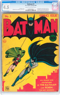 Golden Age (1938-1955):Superhero, Batman #1 (DC, 1940) CGC VG+ 4.5 Cream to off-white pages....