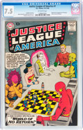 Silver Age (1956-1969):Superhero, Justice League of America #1 (DC, 1960) CGC VF- 7.5 Off-whitepages....