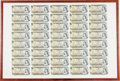 Canadian Currency: , BC-46b $1 1973 Uncut Sheet of Forty. ...