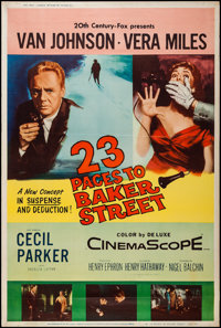 "23 Paces to Baker Street & Other Lot (20th Century Fox, 1956). Posters (2) (40"" X 60"") Type Z. Mystery..."