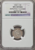 1858-S 10C F-103 -- Improperly Cleaned -- NGC Details. Unc....(PCGS# 538133)