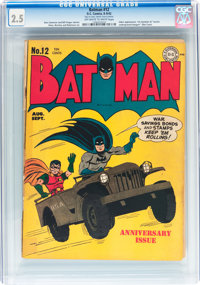 Batman #12 (DC, 1942) CGC GD+ 2.5 Off-white to white pages