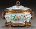 Asian:Chinese, A CHINESE EXPORT PORCELAIN GILT BRONZE MOUNTED COVERED TUREEN.14-1/2 x 20-1/2 x 12 inches (36.8 x 52.1 x 30.5 cm). ...