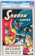 """Golden Age (1938-1955):Crime, Shadow Comics V6#4 Davis Crippen (""""D"""" Copy) pedigree (Street & Smith, 1946) CGC VF+ 8.5 Off-white pages...."""