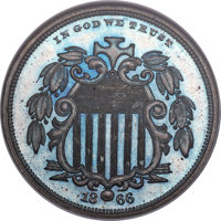 1866 5C Shield Five Cents, Judd-491, Pollock-578, Low R.7, PR66 ★ Brown Cameo NGC....(PCGS# 60687)