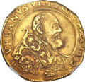 Italy, Italy: Papal States. Urban VIII gold Quadrupla (4 Écu d'or) 1642 XFDetails (Repaired) NGC,...