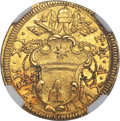 Italy, Italy: Papal States. Clement XI gold Scudo d'oro ND (1717)-R AnnoXVIII MS64 NGC,...