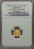 Gold Dollars: , 1849-C G$1 Closed Wreath -- Improperly Cleaned -- NGC Details. AU. NGC Census: (8/74). PCGS Population (17/52). Mintage: 11...