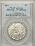 Commemorative Silver: , 1936 50C Arkansas -- Cleaning -- PCGS Genuine. Unc Details. NGC Census: (0/952). PCGS Population (1/1346). Mintage: 9,660. ...