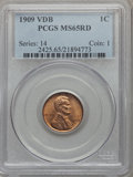 Lincoln Cents: , 1909 VDB 1C MS65 Red PCGS. PCGS Population (5372/2411). NGC Census: (2419/1302). Mintage: 27,995,000. Numismedia Wsl. Price...