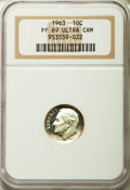 Proof Roosevelt Dimes: , 1963 10C PR69 Ultra Cameo NGC. NGC Census: (154/0). PCGS Population(197/0). Numismedia Wsl. Price for problem free NGC/PC...