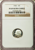 Proof Roosevelt Dimes: , 1960 10C PR69 Ultra Cameo NGC. NGC Census: (84/0). PCGS Population(125/0). Numismedia Wsl. Price for problem free NGC/PCG...