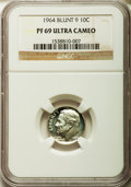Proof Roosevelt Dimes, 1964 10C Blunt 9 PR69 Ultra Cameo NGC. NGC Census: (189/0). PCGSPopulation (300/2). Numismedia Wsl. Price for problem fre...