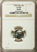 Proof Roosevelt Dimes, 1963 10C Doubled Die Reverse , FS-804 PR69 NGC. NGC Census: (1/0).Mintage: 3,075,645....