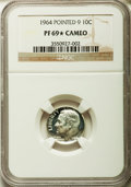Proof Roosevelt Dimes, 1964 10C Pointed 9, PR69 ★ Cameo NGC. NGC Census: (434/0). PCGSPopulation (320/1). Numismed...