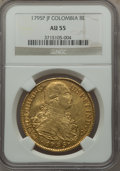 Colombia, Colombia: Charles IV gold 8 Escudos 1795 P-JF AU55 NGC,...