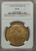 Colombia, Colombia: Charles IV gold 8 Escudos 1792 P-JF XF45 NGC,...