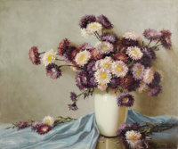 A. D. GREER (1904-1998) Asters Oil on canvas 30in. x 36in. Signed lower right Titled verso  A very nicely-painted