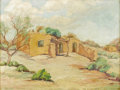 Paintings, HAZEL WILSON (1899-1987). Untitled Adobe. Oil on artistboard. 9in. x 12in.. Signed bottom center. ...