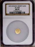 California Fractional Gold: , 1870 25C Liberty Round 25 Cents, BG-808, R.3, MS65 NGC. PCGSPopulation (42/10). (#10669)...