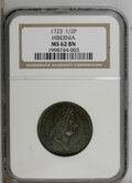 1723 1/2P Hibernia Halfpenny MS62 Brown NGC. Nelson-8, Breen-157. Well struck with warm brown surfaces that have olive a...