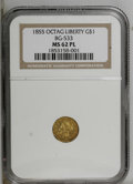 California Fractional Gold: , 1855 $1 Liberty Octagonal 1 Dollar, BG-533, Low R.4, MS62 ProoflikeNGC. A flashy Period One gold dollar with pumpkin-gold ...