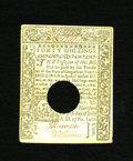 Colonial Notes:Connecticut, Connecticut July 1, 1780 Hole Cancel 40s Choice About New. This isa lovely hold cancelled note with bold signatures and a s...