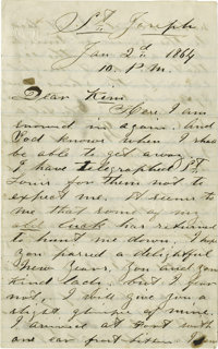 """Extremely Rare War-Date John Wilkes Booth Autograph Letter Signed, """"J. Wilkes Booth,"""" Four pages, 5"""" x 8&..."""